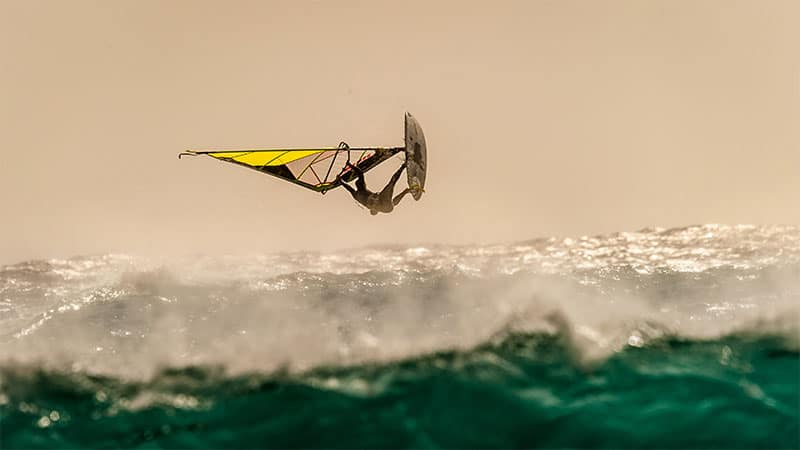 windsurfer doing stunts