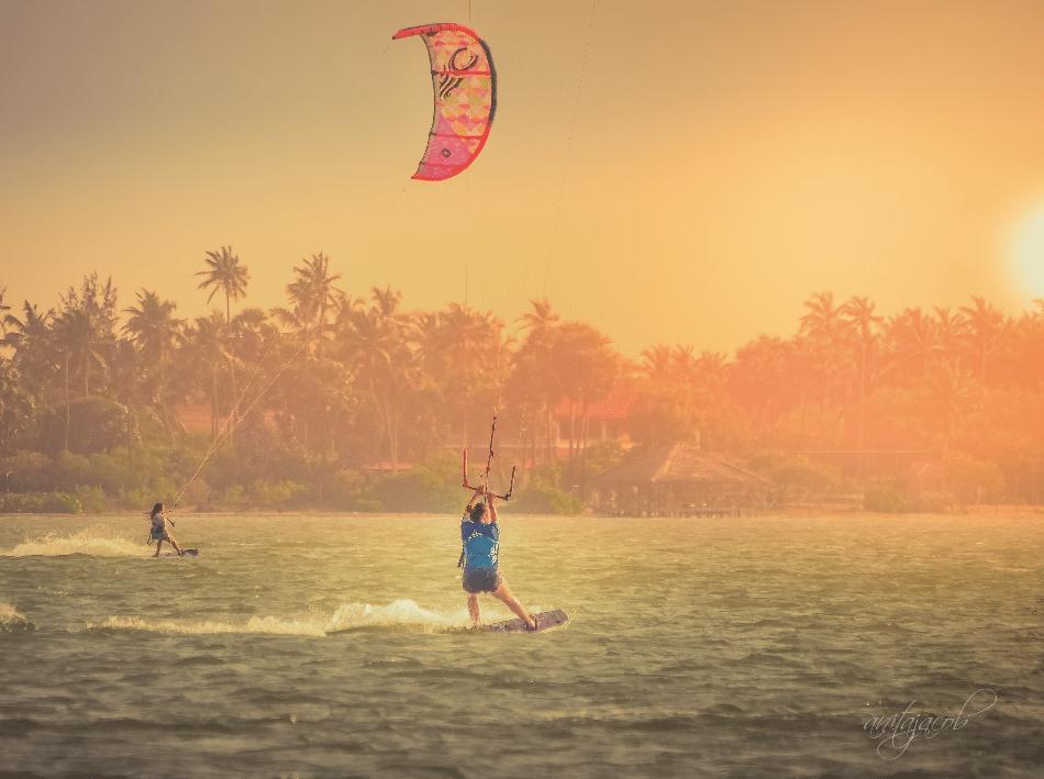 kitesurfing sunset